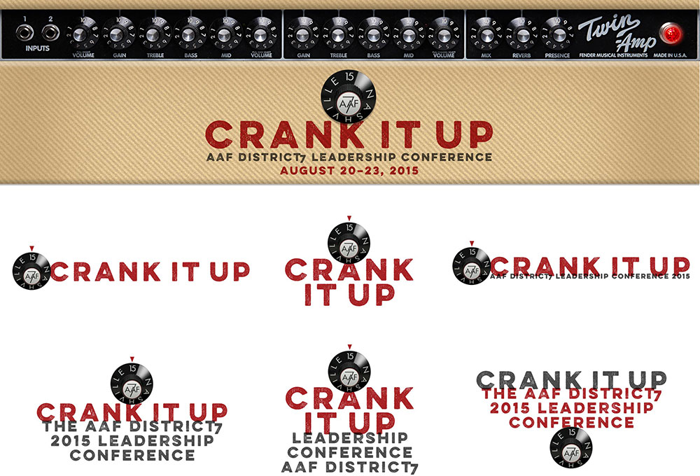 Variations of the 'Crank It Up' logo